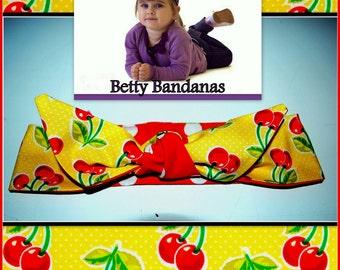 KIDS...Betty Bandana in Yellow Cherry Print and Polka Dots....New Size & Style