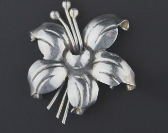 Little Mexican Vintage Sterling Silver Taxco Hibiscus Flower Brooch Pin F TORRES