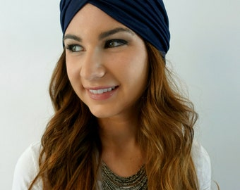 Navy Blue Turban Hat Womens Turban Cloche Full Head Turban Stretch Turban Hat Pleated Design Womens Hat - CHOOSE Your Color