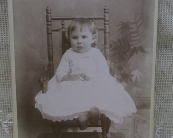 Antique Cabinet Photo-Sad Baby Boy in Dress-Rocking Chair-North Lansing,MI