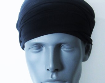 Men -  Black EZ PZ  Turban Wrap For Short Hair Or Bald Head-  One Size-Ready Wraps- Stretch Turban- Stretch Wraps
