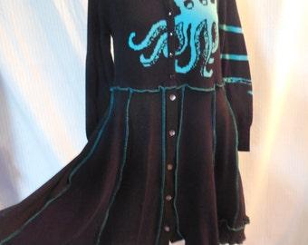 Octopus Sweater, upcycled, Refashioned sustainable clothing