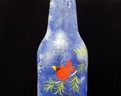 Winter Time Cat And Cardinal Hand Painted Blue Bottle