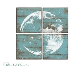 Full Moon Print - Astronomy Wall Art - Custom Made Moon Print Collection on Rustic Vintage Panels