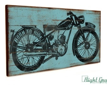 Man Cave Sign Decor - Vintage Motorcycle Print - Custom Made Gift for Him