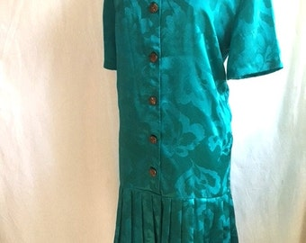 Vintage 80s TEAL FLORAL Dress / Drop Waist With Pleated Bottom / Womens Plus Size