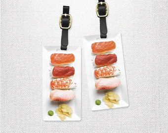 Sushi Nigiri Food Printed Personalized Luggage Tags | Metal Tag with Custom Backs Single Tag or Set Available