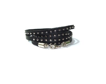 Silver Studded Black Leather Wrap Bracelet  ,  Skinny Black Leather Wrap