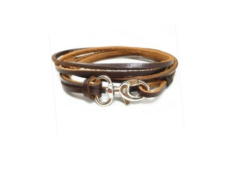 Genuine Brown  Leather  Wrap Bracelet , Stainless Steel Swivel  Clasp