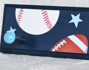 "18"" . 3 Pegs . Personalized Coat Rack . Wall Pegs . Colin. Sports on Navy"