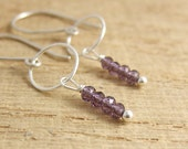 Earrings with a Sterling Silver Loops and Tiny Amethyst Beads CHE-283