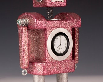 Robot Bobblehead Clock Metallic Pink