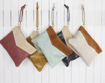 Large Leather Wristlet - Leather Handbag - Suede Leather - Two Tone With Suede Leather and Brass Zipper Closure Available in 40 Colors