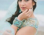 bead embroidered wedding aqua statement  bracelet , boho chic turquoise cuff  , haute couture bridal bracelet , colorful wedding cuff
