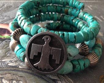 Bohemian Turquoise Vintage Button Wrap Bracelet Boho  Beach Jewelry Cowgirl Gypsy Chic