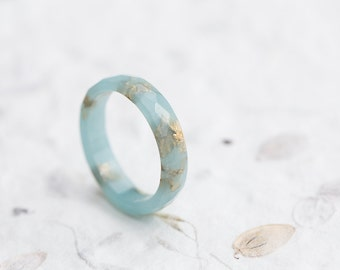 Aquamarine Blue Resin Ring Gold Flakes Stacking Faceted Ring OOAK pastel minimalist jewelry minimal chic