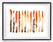 Collectible art / Watercolor Abstract PRINT Painting / Modern artwork Color field orange red, Contemporary abstract art Interior wall decor