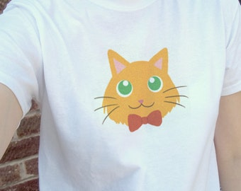 Cute ginger orange bow tie cat animal illustration, white tee, T-shirt, tshirt, gift | mens womens unisex sizes