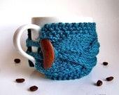 Coffee Sleeve, Coffee Cup Cozy, Coffee Mug Cozy, Knit Coffee Cozy, Coffee Cup Sleeve, Tea Cozy, Mug Warmer, Gifts Under 20, Teal Decor