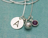 Basketball Charm Necklace Sterling Silver with Birthstone and Initial Personalized Hand Stamped Necklace