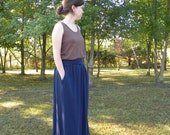 Womens Jersey Knit Cotton Maxi Skirt with pockets - Made to Order -Handmade in the USA - Mason Maxi