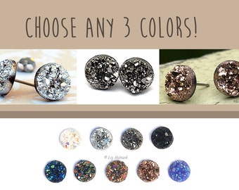 3 Pair Set - Faux Druzy Earrings - You Choose the Colors! Titanium or Stainless Steel Posts, All 10mm Cabochons