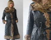 60s 70s leather and fur coat. fur trim coat. black leather coat - xs, small