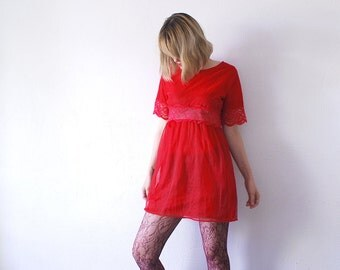 SALE...70s red negligee. semi nylon and lace lingerie dress. sheer mini dress. babydoll dress - small to medium