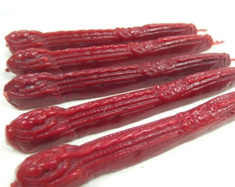 Natural Sealing Wax 5 sticks RED color with wick Traditional mold - for stamps Non-toxic ECO no plastics Gift-wrapped