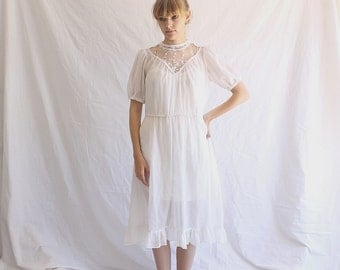 vintage 70s white cotton lace dress embroidered medium - large