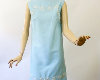 Vintage 60s Beaded Formal Dress Light Blue Rayon Silk w Hand-Sewn Glass Beads Rhinestones Party Wedding Dress Bust 38