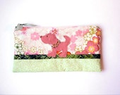 """Zipper Pouch, 5.25x9.5"""" in pink, cream, green and orange flowers with Handmade Felt Dog Embellishment, Puppy Pencil Case"""