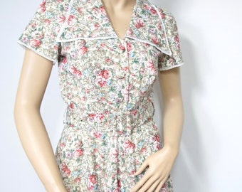 1950's Style Shirtwaist Dress Floral Rose Cotton Day Dress Vintage Handmade Housedress Size Small