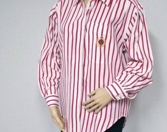 Blouse Vintage Lizsport Striped Man Tailored Cotton Long Sleeved Women's Shirt Preppy Size Medium