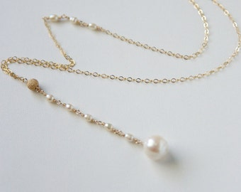 Lariat Necklace/ Y Necklace Gold/ Real Pearl Necklace/Pearl Y Necklace/Long Pearl Necklace/Simple Pearl/ Single Pearl Necklace/ Wedding