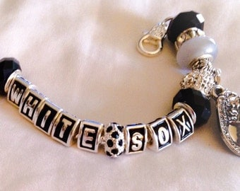 Chicago White Sox inspired Baseball handmade jewelry bracelets