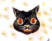 Vintage Halloween Cat Brooch