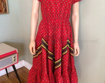 1950s Fantastic Red Western Swing Dress with Green Yellow Black Ric Rac Detail-S/M