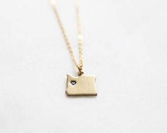 Small Portland Oregon State Necklace | Choose Your State Necklace | Heart State Necklace | Custom State Necklace Wholesale | Christmas Gift