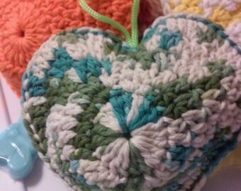 Heart Shaped Scrubby Shower Sponge, Puff, Cotton, Washcloth