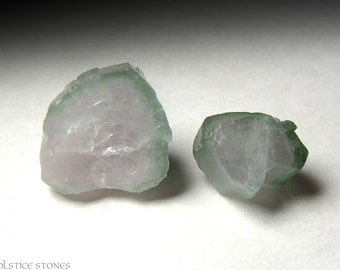 2 Watermelon Tourmaline Crystal Slices, Rough Natural Pieces // Heart Chakra // Crystal Healing // Mineral Specimens