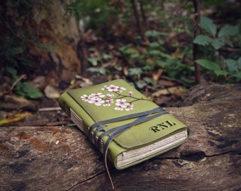 monogrammed leather journal with beautiful vintage style paper, green notebook, sketchbook diary unlined paper writing drawing Woodland