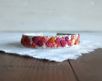Floral Textile Art Cuff Bracelet - Pink and Orange Textile Cuff