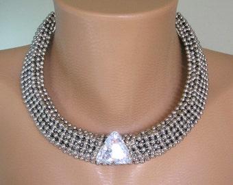 Statement Necklace, Art Deco, Great Gatsby, Silver Collar, Rhinestone Choker, Bridal Necklace, Wedding Jewelry, Vintage Bridal, Deco Wedding