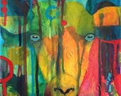 Goat Painting - Yellow Goat Painting - Rainbow Goat Painting - Acrylic Painting - Original Canvas Painting - Aries - Art - Decoration