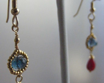 Rich and Juicy:  London Topaz and Natural Ruby Earrings
