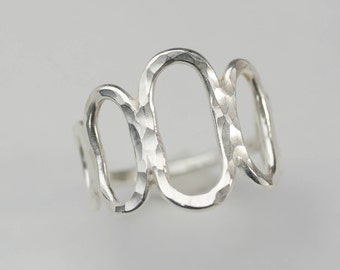 Hammered Sterling Ring, Handmade Silver Ring, Comfortable Everyday Sterling Ring, Silver Jewelry