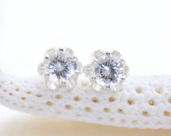 Vintage Style Buttercup Stud Earrings with 4mm Natural Flawless White Zircon Eco Friendly, Ethical, Conflict Free And Ready to Ship