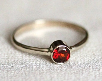 Solid 14k Gold Simple 5mm Almandine Garnet Ring with Half Round Band - Rose or White or Yellow Gold Modern Ring with January Birthstone