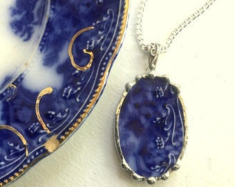 Broken china jewelry, Recycled china pendant necklace Antique 1880s English Flow Blue broken china jewelry